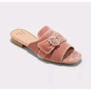 A New Day Blush Dina Slide Sandal Velvet Jewelled